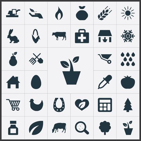 Vectorillustratiereeks Eenvoudige Landbouwpictogrammen. Elementen Tuinbouwapparatuur, hertogin, vee en andere synoniemen Veeteelt, Trolley en groenblijvend. Stock Illustratie