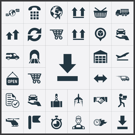 Vector Illustration Set Of Simple Engineering Icons. Elements Protect Car, Shopping Trolley, Top And Other Synonyms Warehouse, Car And Top.