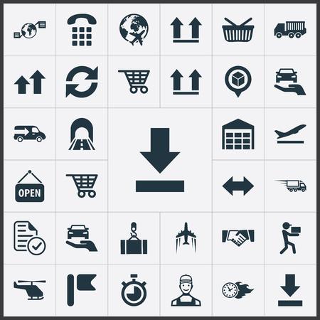 Vectorillustratiereeks Eenvoudige Techniekpictogrammen. Elementen beschermen auto, winkelkar, boven- en ander synoniemenmagazijn, auto en bovenzijde.