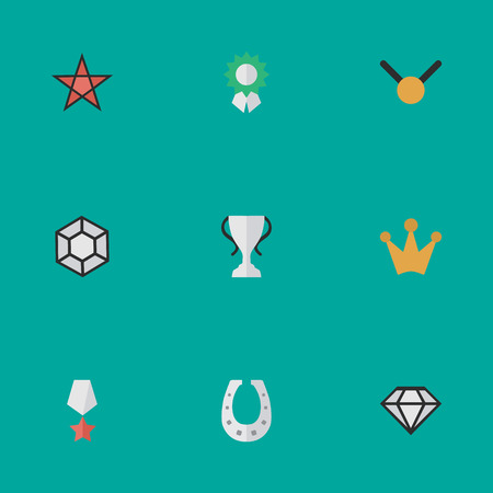 Vector Illustration Set Of Simple Trophy Icons. Elements Premium, Diamond, Medal And Other Synonyms Prize, Coronet And Crown. Illustration