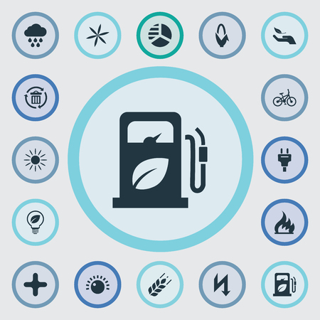 Vector Illustration Set Of Simple Energy Icons. Elements Diagram, Petrol, Fire And Other Synonyms Floret, Barley And Lightning. Illustration