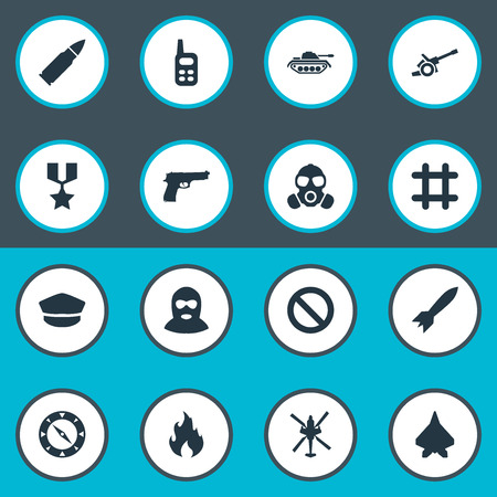 Vector Illustration Set Of Simple War Icons. Elements Terrorist, Aircraft, Shot And Other Synonyms Flame, Remote And Fire.