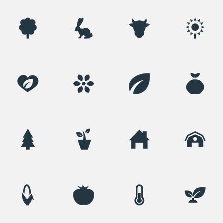 벡터 일러스트 레이 션 간단한 수확 아이콘의 집합입니다. 요소 온도 측정, 가축, 상록수 및 기타 동의어 격납고, 토끼 및 목재. 일러스트