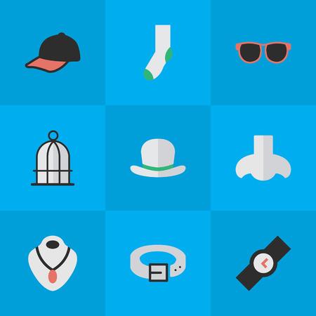 Vectorillustratiereeks Eenvoudige Materiaalpictogrammen. Elementen sieraden, sport hoed, riem en andere synoniemen ketting, sieraden en hoed. Stock Illustratie