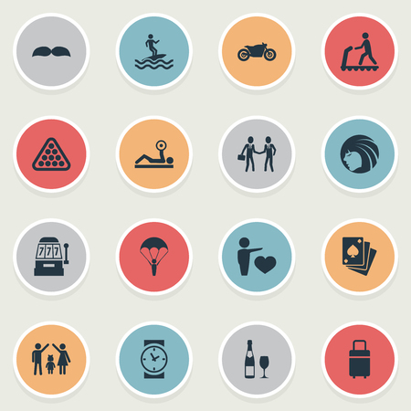 Vector Illustration Set Of Simple Yoga Icons. Elements Hairstyle, Deal, Powerlifting And Other Synonyms Scooter, Weights And Beauty.