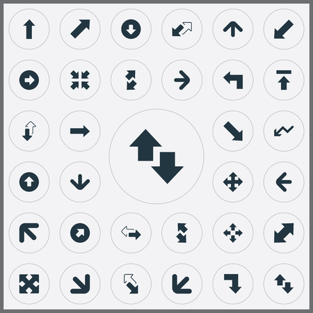 Vector Illustration Set Of Simple Cursor Icons. Elements Upward Direction, Downwards Pointing, Upward Direction And Other Synonyms Four Directions Arrows, Right And Downwards.