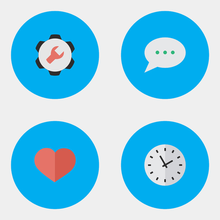 Vector Illustration Set Of Simple UI Icons. Elements Time, Settings, Message Bubble And Other Synonyms Love, Heart And Watch. Illustration