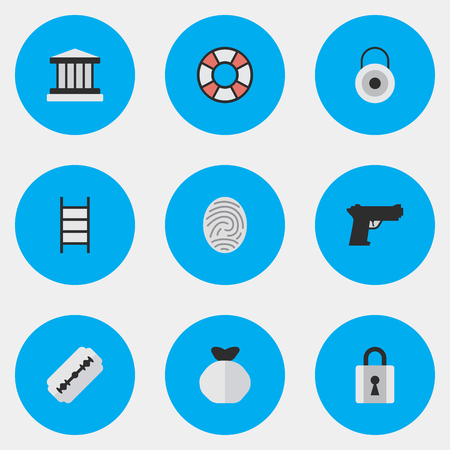Vector Illustration Set Of Simple Offense Icons. Elements Stairs, Bioskyner, Closed And Other Synonyms Lifesaver, Fingerprint And Blade.