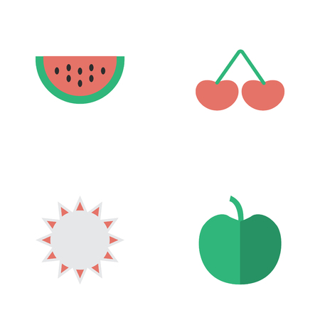Vector Illustration Set Of Simple Garden Icons. Elements Melon, Sunny, Fruit And Other Synonyms Berry, Melon And Fruit.