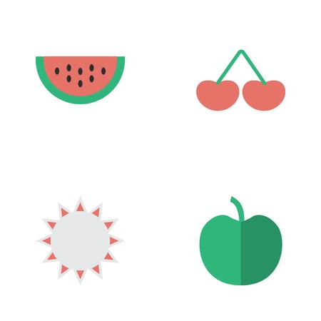Vectorillustratiereeks Eenvoudige Tuinpictogrammen. Elementenmeloen, zonnig, fruit en andere synoniemenbes, meloen en fruit. Stock Illustratie