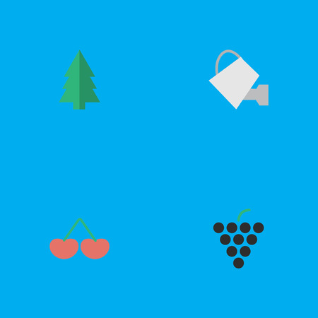 Vector Illustration Set Of Simple Garden Icons. Elements Tree, Berry, Wine And Other Synonyms Wineglass, Watering And Tree.