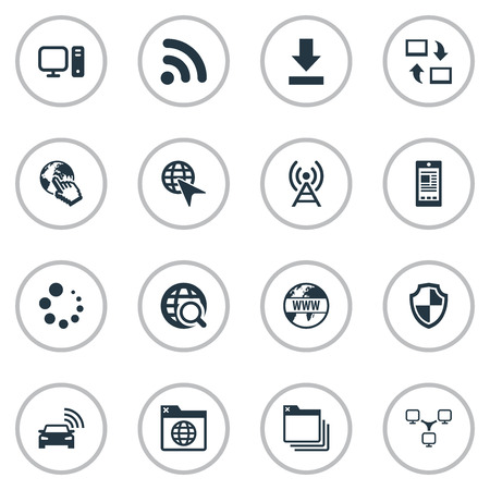 web browser: Vector Illustration Set Of Simple Internet Icons. Elements Antenna, Share, Circle Loader And Other Synonyms Click, Progress And Down.