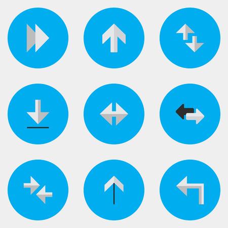 벡터 일러스트 레이 션 간단한 커서 아이콘의 집합입니다. 요소 커서, 로딩, 업 및 기타 동의어 전달, 가져 오기 및로드. 일러스트