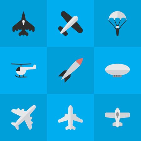 벡터 일러스트 레이 션 간단한 비행기 아이콘의 집합입니다. 요소 폭탄, 비행 차량, 여객기 및 기타 동의어 헬기, 다이너마이트 및 비행. 일러스트
