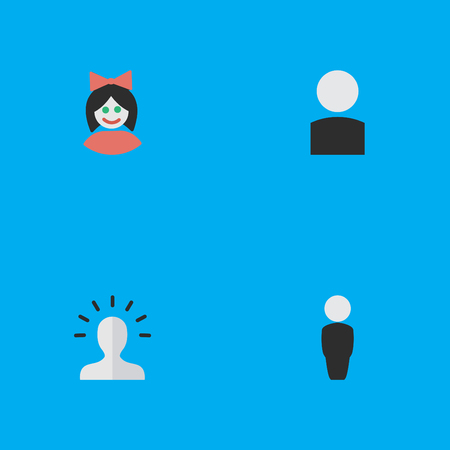 Vector Illustration Set Of Simple Person Icons. Elements Girl, Contour, Person And Other Synonyms Human, Person And Girl.