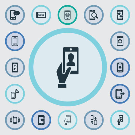 Vector Illustration Set Of Simple Telephone Icons. Elements Outgoing Calls, Touchscreen, Tune And Other Synonyms Touchscreen, Transfer And Shutter.