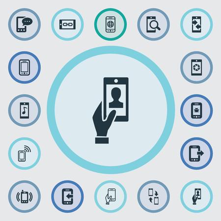 Vector illustratie Set van eenvoudige telefoon pictogrammen. Elementen Uitgaande gesprekken, Touchscreen, Tune en andere synoniemen Touchscreen, overdracht en sluitertijd.