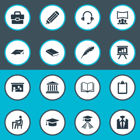 Vector Illustration Set Of Simple Training Icons. Elements Employee, University, Publishing House And Other Synonyms Pencil, Mortar And Communication. Ilustrace