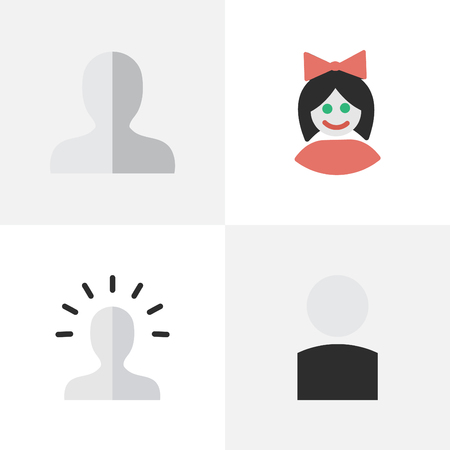 Vector Illustration Set Of Simple Person Icons. Elements Contour, Girl, Avatar And Other Synonyms Profile, Girl And Female.