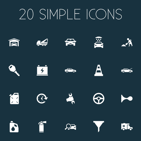 Vector Illustration Set Of Simple Car Icons. Elements Wrench, Automobile, Builder And Other Synonyms Fuel, Builder And Fixing.