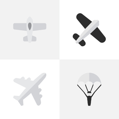 Vector Illustration Set Of Simple Aircraft Icons. Elements Catapults, Aviation, Plane And Other Synonyms Plane, Catapults And Vehicle.