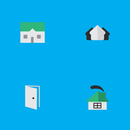 Vector Illustration Set Of Simple Real Icons. Elements Property, House, Entry And Other Synonyms Real, Estate And Home.