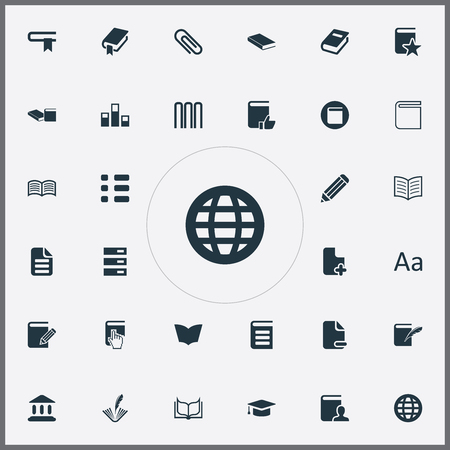 Vector Illustration Set Of Simple Books Icons. Elements Stack, Library, Page Removing And Other Synonyms Open, Alphabet And Cursor.