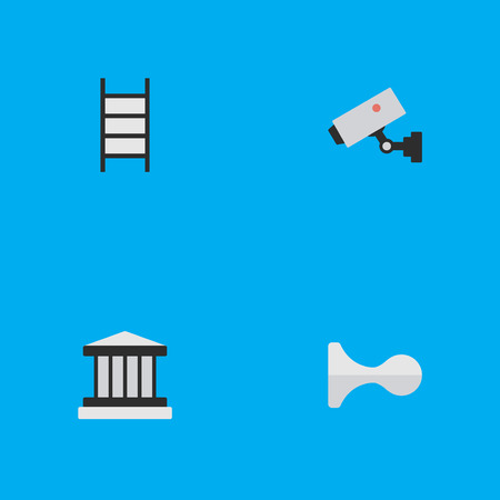 Vector Illustration Set Of Simple Crime Icons. Elements Stairs, Hunting, Supervision And Other Synonyms Ladder, Supervision And Climbing.