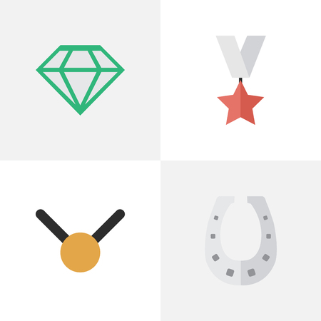 Vector Illustration Set Of Simple Trophy Icons. Elements Medal, Metal, Gemstone And Other Synonyms Stone, Shoe And Diamond. 版權商用圖片 - 84402850