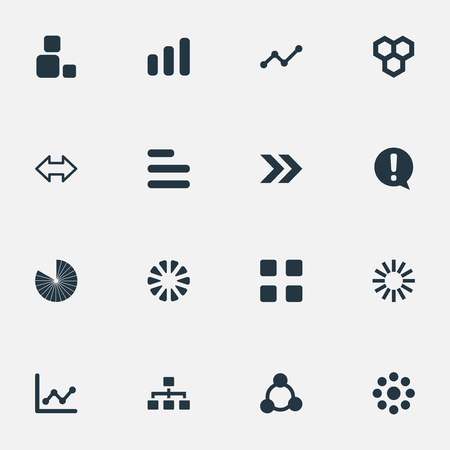 Vector Illustration Set Of Simple Graph Icons. Elements Reverse Arrows, Unit, Multiple And Other Synonyms Relation, Strategy And Segment. Illustration