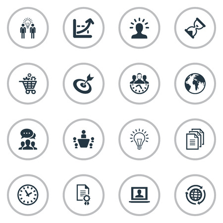 Vector Illustration Set Of Simple Strategy Icons. Elements Think, Group, Globe And Other Synonyms Think, Growth And Manager. Illustration