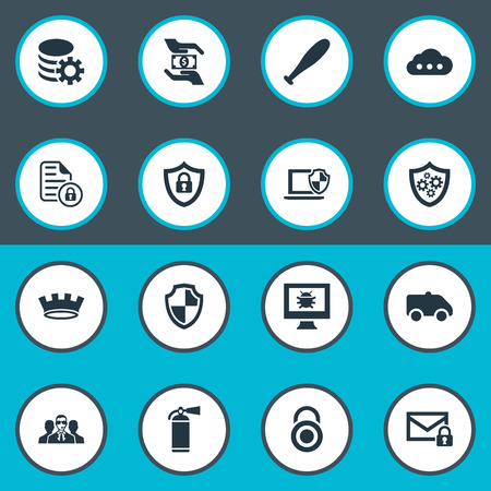 Vector Illustration Set Of Simple Security Icons. Elements Dartboard, Shield, Virus And Other Synonyms Agent, Gear And Camion.