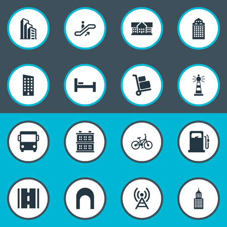 Vector Illustration Set Of Simple Infrastructure Icons. Elements Staircase, School, Petrol-Station And Other Synonyms Megapolis, Autobus And Skyscraper.