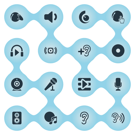 Vector Illustration Set Of Simple Sound Icons. Elements Listen, Increase, Loudspeaker And Other Synonyms Increase, Hear And Volume. Illustration