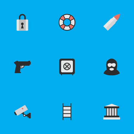 Vector Illustration Set Of Simple Crime Icons. Elements Grille, Supervision, Vault And Other Synonyms Burglar, Grille And Security.