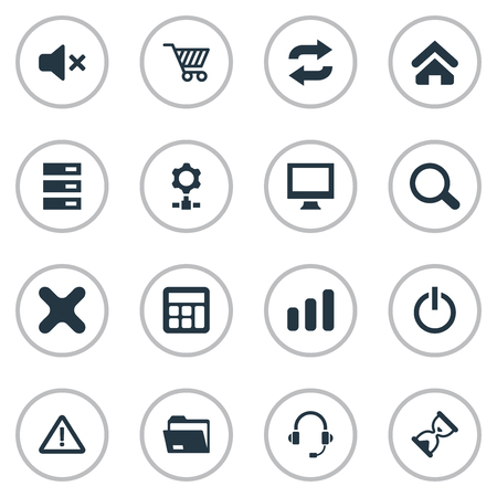 Vector Illustration Set Of Simple Device Icons. Elements Reload, Warning, Monitor And Other Synonyms Headphone, Microphone And Screen. Illustration