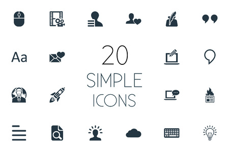 Vector Illustration Set Of Simple Newspaper Icons. Elements Bulb, Cedilla, Quote And Other Synonyms Sky, Man And Coming.