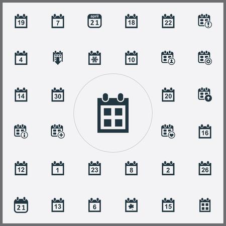 Ilustración vectorial Conjunto de iconos de plan simple. Elementos adicionales, agenda, advertencia y otros sinónimos, día, suma y catorce. Foto de archivo - 84402925