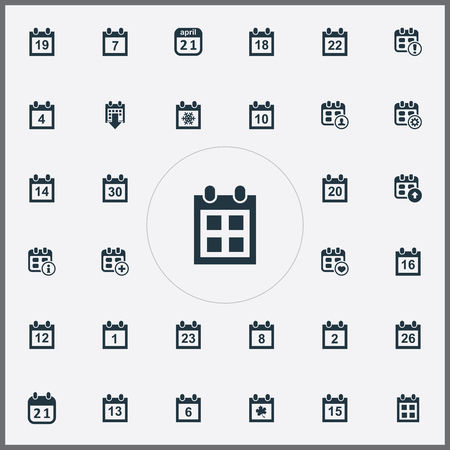 Vector Illustration Set Of Simple Plan Icons. Elements Addition, Agenda, Warning And Other Synonyms Day, Addition And Fourteen.