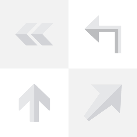 Vector Illustration Set Of Simple Pointer Icons. Elements Orientation, Upwards, Back And Other Synonyms Up, Backward And Rearward. Ilustração