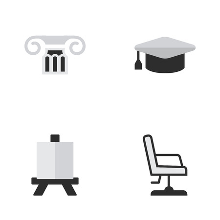 Vector Illustration Set Of Simple Knowledge Icons. Elements Armchair, Academic Hat, Column And Other Synonyms Graduation, Board And Column.