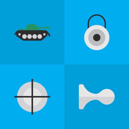 単純な攻撃アイコンのベクター イラスト セット。ターゲットと目標、要素の狙撃、ロック、軍やその他の類義語を閉じます。