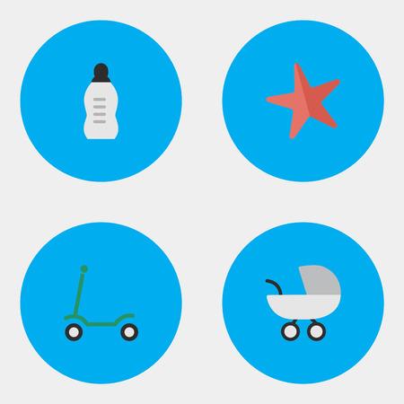 벡터 일러스트 레이 션 간단한 유아 아이콘의 집합입니다. 요소 킥, 유모차, 약병 및 기타 동의어 킥, 불가사리 및 유모차.