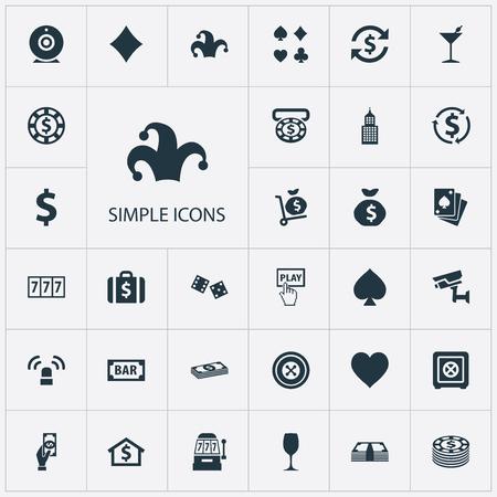 벡터 일러스트 레이 션 간단한 도박 아이콘의 집합입니다. 성분 비율, 현금, 포트홀리로 및 다른 동의어 부지깽이, 운 및 교환. 일러스트