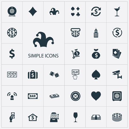 Vector Illustration Set Of Simple Gambling Icons. Elements Rate, Cash, Portfolio And Other Synonyms Poker, Luck And Exchange. Çizim