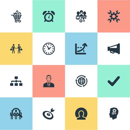 Illustrazione vettoriale Set di icone del piano semplice. Elements Industry, Internet User, Watch e altri sinonimi Organizzazione, Globe e supporto.