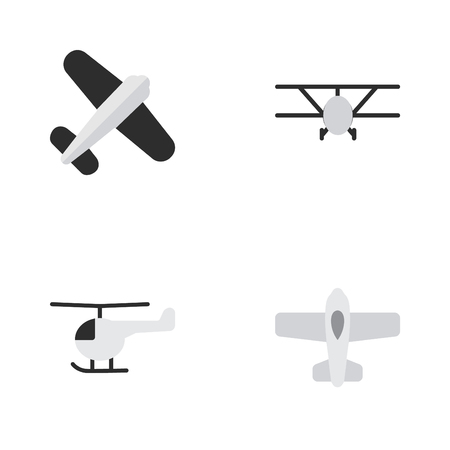 Vector Illustration Set Of Simple Airplane Icons. Elements Aviation, Airplane, Plane And Other Synonyms Aviation, Flying And Aircraft.