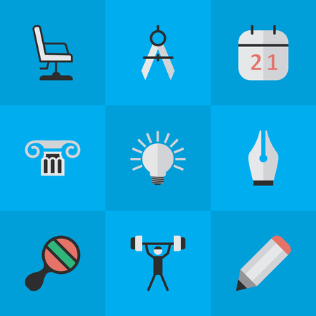 Vector Illustration Set Of Simple Knowledge Icons. Elements Racket, Armchair, Column And Other Synonyms Drawing, Almanac And Chair.