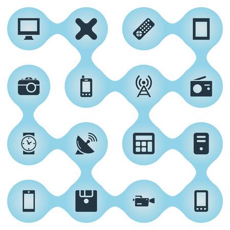 Vector illustratie Set van eenvoudige technologie iconen. Elementen Raak Computer, Tuner, Klok en Andere synoniemen verwijderen, Klok en afstandsbediening aan.