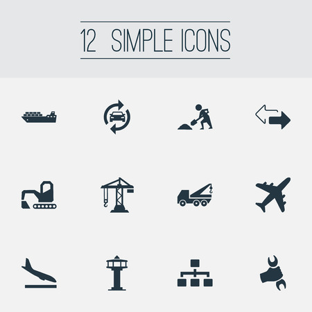 Vector Illustration Set Of Simple City Icons. Elements Lifting Equipment, Construction Crane, Reverse Directions And Other Synonyms Reconstruction, Digger And Airport. Illustration